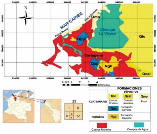 Localización del área de estudio y sus respectivas formaciones geológicas