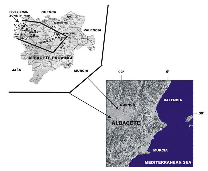 Location of epicenters in Albacete Mesoblock