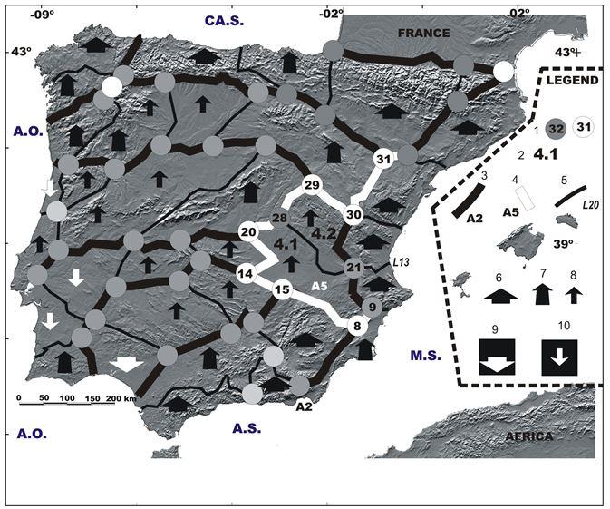Simplified morphotectonic map of Iberian megablock
