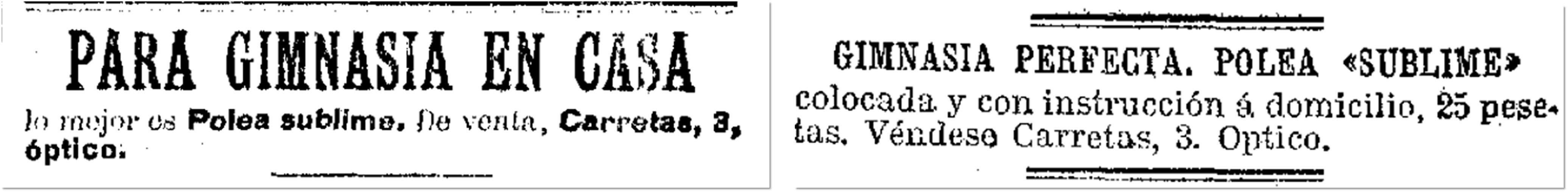 La Época, 18 de mayo de 1904, p. 3; El Imparcial, 20 de diciembre de 1904, p. 4